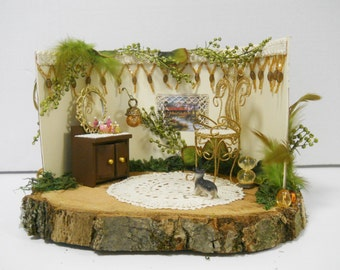 Fairy Room Display for OOAK or Other Collectible Fairies, Art Dolls, Doll House, Miniatures