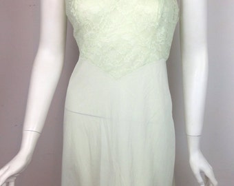 VTG 50s 60s  Lime Green Pastel Seafoam Slip Lace Top Dress 80s 90s Grunge