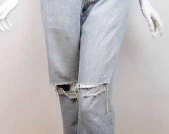 VTG Gap Jeans Pants Distressed Holes Faded Frayed Denim Washed