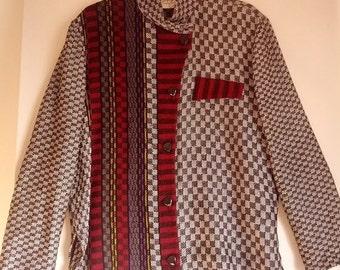 SALE Tregea Bevan sweater knit shirt jumper pullover L boho punk eighties mod op art check checkerboard