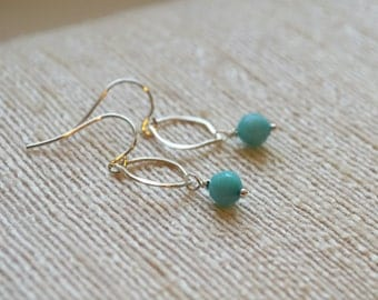 Petite Teardrop Sterling Silver and Amazonite Earrings As Seen on Jane the Virgin
