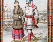 Romantic Couple Wearing Snowshoes:  Victorian Advertising Card