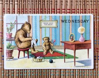 Vintage Humorous Postcard:  Mama Bear and Baby