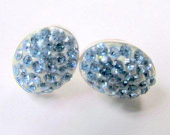 Swarovski elements sparkly stud earrings  aquamarine march birthstone earrings oval sterling silver crystal clay