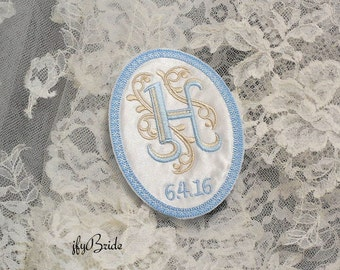 Something Blue Wedding Gown Label, Wedding Gown Patch, embroidered with your monogram and wedding date