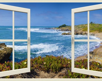 Wall mural window, self adhesive, California open window view-3 sizes available-Big Sur beach- free US shipping