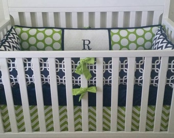 Lime navy  Baby bumper  bedding  and skirt  Crib set DEPOSIT Down payment ONLY read details