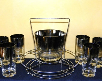 Ombre Bar Set with Ice Bucket, 8 Glasses and Chrome Carrier, 10-pieces