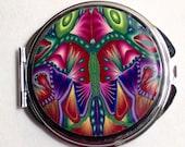 Compact Purse Mirror, Kaleidoscope multi, Bridesmaids Gift, Wedding Favor, OOAK