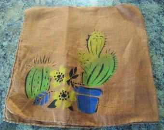 cactus hand painted clean vintage hanky