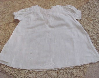 Antique Sheer Embroidered White Cotton Baby Gown Dress (01A)