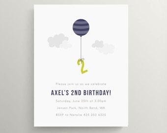 balloon birthday invitation set // baby shower invitation // kids birthday // air balloon // birthday balloon // sky