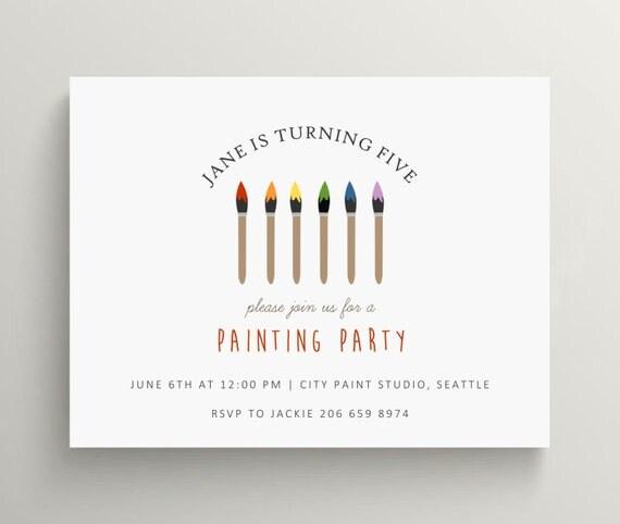 artist paintbrush birthday invitation set // baby shower invitation // bridal shower // art party // kids birthday // painting party // note