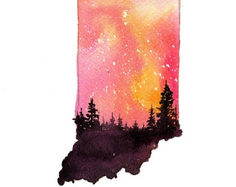 Indiana, print from original watercolor illustration by Jessica Durrant from Painting the 50 States Project.