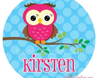 Personalized Plate | Cute Owl Dinner Plate | Birthday Gift | Melamine Birthday Plate