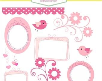 ON SALE Frame clipart, border, label clipart, ribbon frame Pink, pink, bird, pink frame