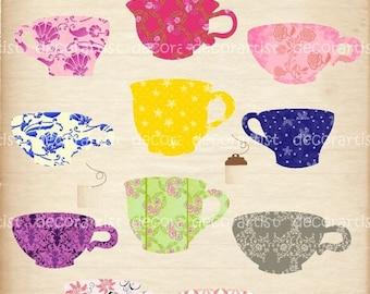 ON SALE Digital clip art, tea cup clip art,  Vintage Teacups , tea party clip art , INSTANT Download Digital clip art