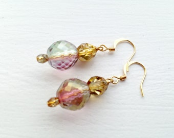 Fire polished glass crystal teal blue green blush bronze gold plated brass earrings
