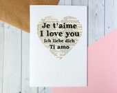 Valentine's Day Card - I Love You - Je T'aime - Ti Amo - Ich Liebe Dich - Book Lover Card - Literary Gift - Book Pages - Languages  (106)