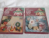 Vintage NOS Plaid Christmas Decoupage Bears And Angels Paper //Lot