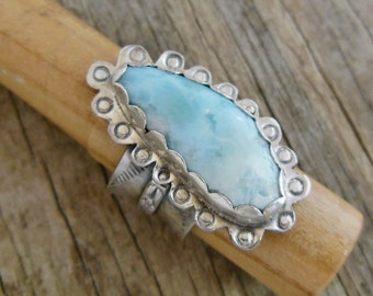 Larimar Ring, Bohemian Jewelry, Blue Stone Ring, Sterling Silver Western Style, Cowgirl jewelry Size 7