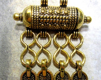Antique gold plated ethnic necklace enhancer jewely charm  boho chic tribal bohemian jewelry connector Bus3228-SR1-,