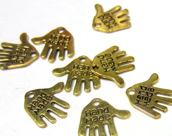 30 Antique gold made by hand Tag Charms Marked Made by Hand  Pendants, Jewelry Tags, Art Work tags