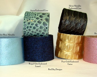 NEW FOR SPRING - Pack of 4 Leather Supply Cuffs - Embossed Leather - Glitz Leather -  Leather Bracelets -  Leather Jewelry Designs - Cuffs