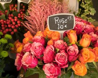 Paris Photograph Flower Shop Bouquet Flowers Photo Red Roses Orange Paris Decor France Print Wall Art par146