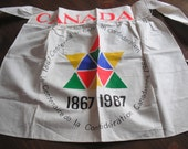 HISTORIC APRON - CANADA 1867-1967 Centennial of Canadian Confederation - Vintage Cotton Unused Made and Printed in Canada