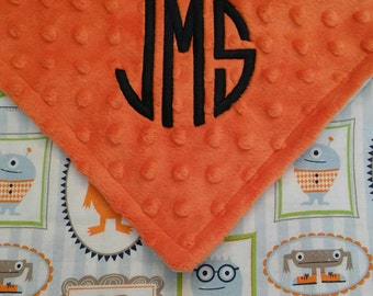 Personalized Monogrammed Baby Blanket Monsters Minky Baby Boy 28x30