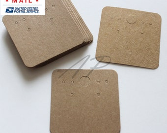"Free Shipping via Priority Mail 500 pcs of Blank Earrings Paper in Brown Kraft Paper for Accessories Jewelry(2"" X 2"")"