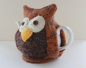 Owl Tea Cosy - CARRON - Hand-knitted in combination of organic merino wool, cotton and cashmere- Size Medium - Ready to Ship