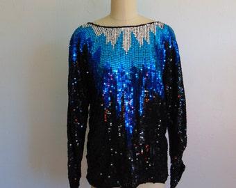 80s BLUE STARBURST sequin top size medium
