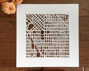 "Denver or Golden, Colorado hand cut map ORIGINAL, 10""x10""."