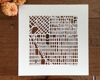 """Denver, Golden, or Boulder, Colorado hand cut map ORIGINAL, 10""""x10""""."""