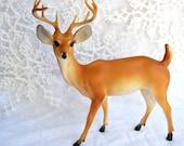 Vintage Plastic Deer - Christmas Decoration - Hong Kong Large Buck 8 inches