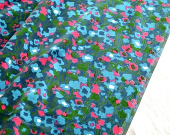 Vintage Fabric - Turquoise Green and Pink Floral Velour - 40 x 45