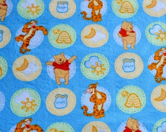 Novelty Fabric - Pooh and Tigger Flannel - 41 x 40  Out of Print Cotton