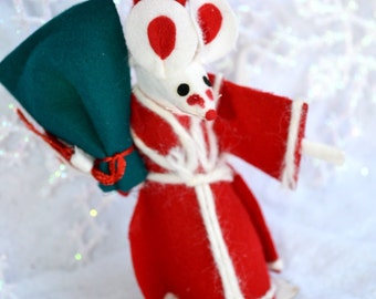 Vintage Christmas Ornament - Felt Mouse in Red Santa Wizard Robe