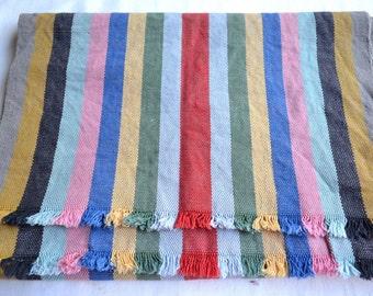 Vintage Fabric - Multi Color Stripe Woven Cotton Canvas - 17 x 49 Bohemian Rustic