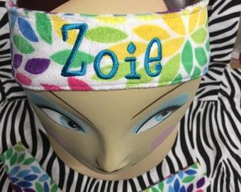 Girls Monogrammed Fleece Ear Warmer Headband Toddler Head Wrap Personalized Embroidered