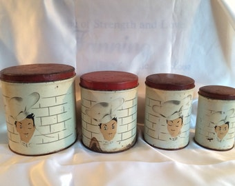 Mid Century French Chef Canister Set
