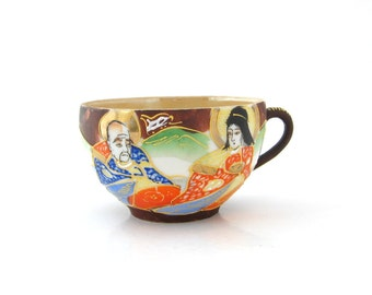 Vintage Made in Japan Lusterware Teacup • Japanese Couple Geisha Tea Cup • 1940s Home Decor