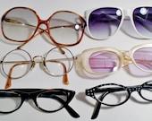 Vintage  Eyeglass Lot of 6  Big & Cat Eye Ladies Fashion Sunglasse 60' - 80's Mod Retr Mid Century Atomic Retro Art Deco Mod Statement