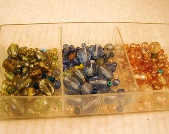 Beading Supplies Tray of Assorted Vintage Beads in Peach Blue Green