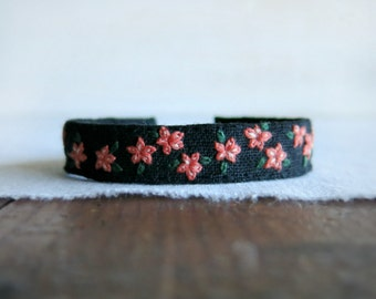 Fabric Cuff Bracelet - Coral Pink Flowers on Black Linen Embroidered Fabric Cuff Bracelet