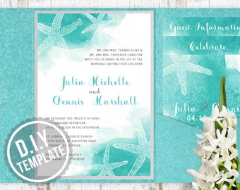 DIY Aqua and Silver Starfish Wedding Invitation Suite - Beach Watercolor Starfish Design for Destination Wedding, Customized Printable PDF