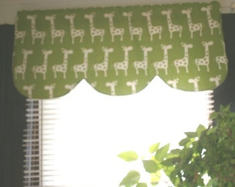 RTS, Lined scallop shaped valance, 42 x 16 inches, chartreuse green an dwhite stretch giraffe