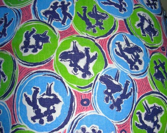 Vintage Novelty Feedsack Cotton Quilting Fabric //  Square Dancers in BLUE  and Green  // 35 x 46